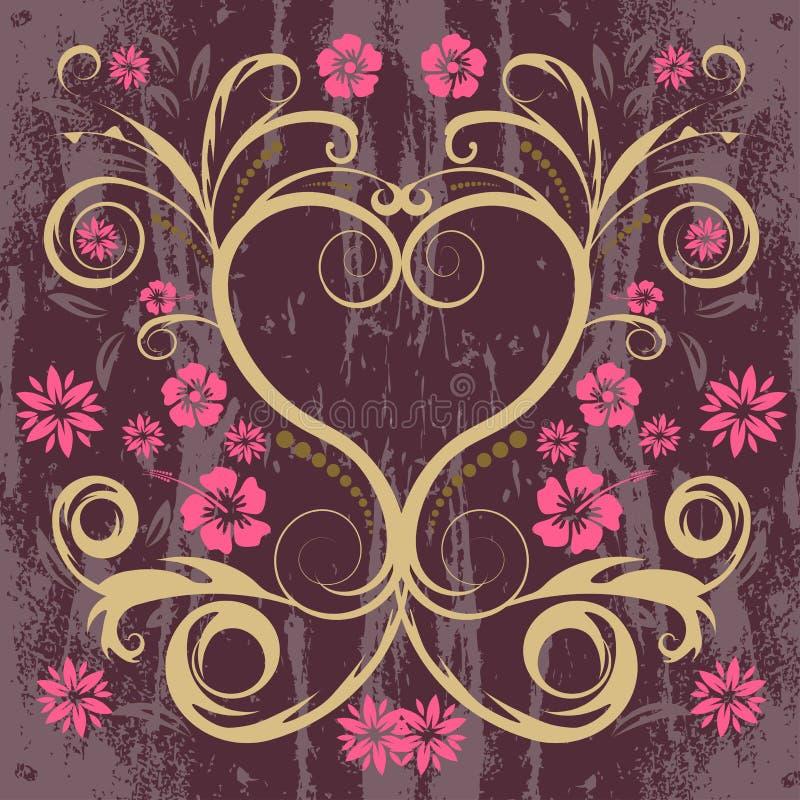Vector bloemenhart royalty-vrije illustratie