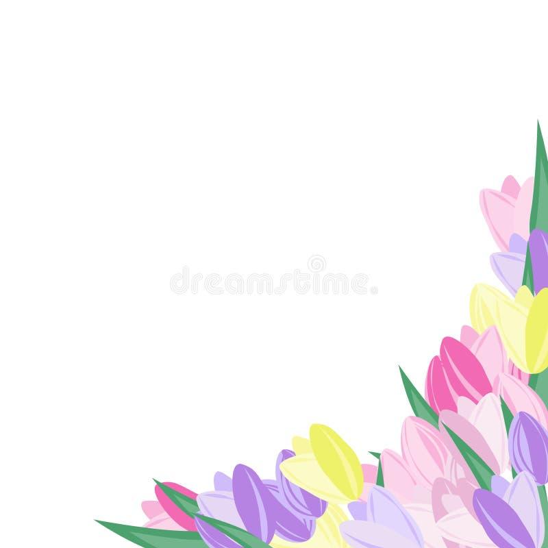 Vector bloemenhoek Geïsoleerd decor van purple, roze en geel vector illustratie