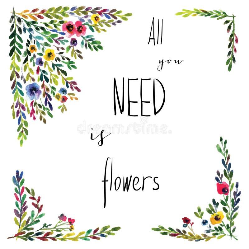 Vector bloemenkaart stock foto