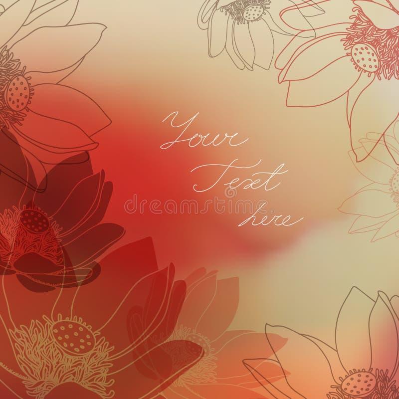 Vector Bloemenkaart met plaats voor uw tekst royalty-vrije illustratie