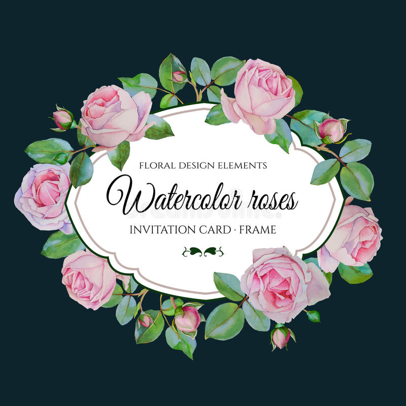 Vector bloemenkaart met waterverf roze rozen in uitstekende stijl vector illustratie