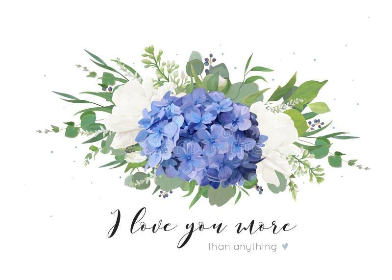 Vector bloemenkaartontwerp met teder boeket van blauwe hydrangea hortensiabloem, witte tuinrozen, papavers, eucalyptus, lilac blo stock illustratie