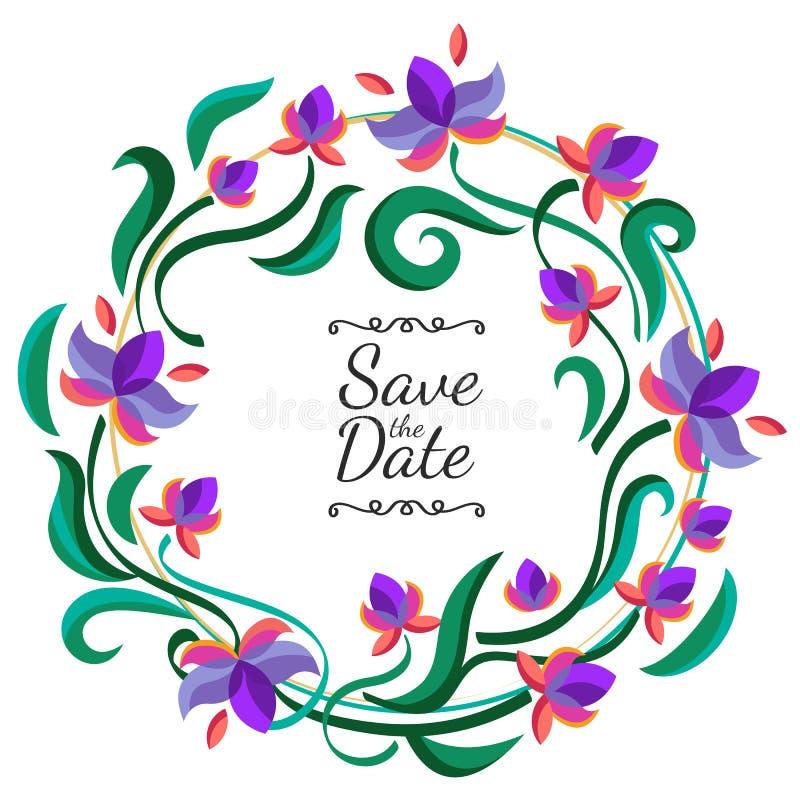 Vector bloemenkader met purpere bloemen Huwelijk, verjaardag of sa stock illustratie