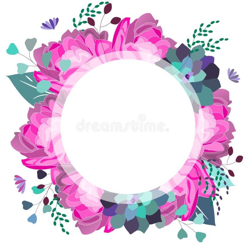Vector bloemenkader met roze en violette succulente pioen, bladeren In de zomerontwerp stock illustratie