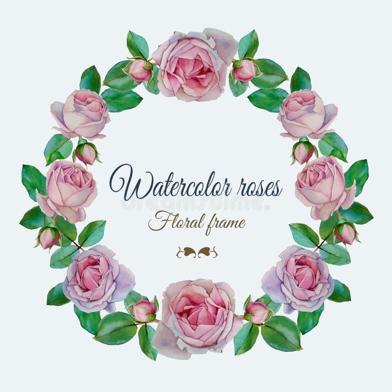 Vector bloemenkader met waterverf roze rozen royalty-vrije illustratie