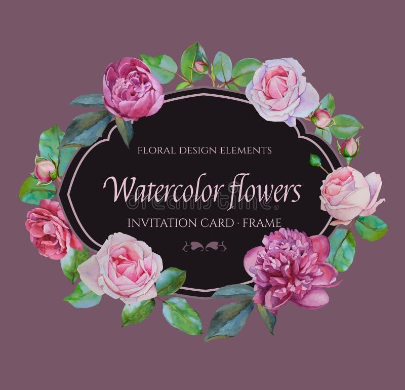 Vector bloemenkader met waterverf roze rozen en purpere pioenen stock illustratie