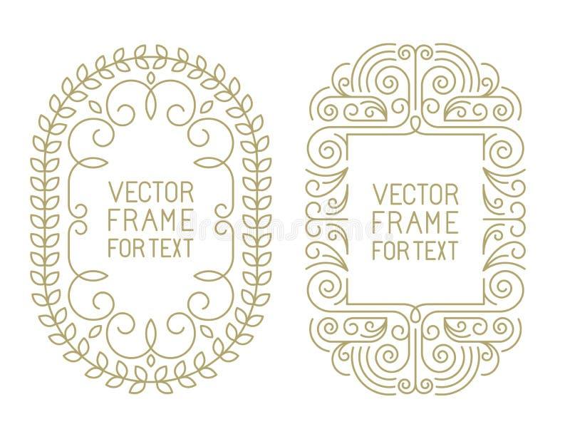 Vector bloemenkaders met exemplaarruimte vector illustratie