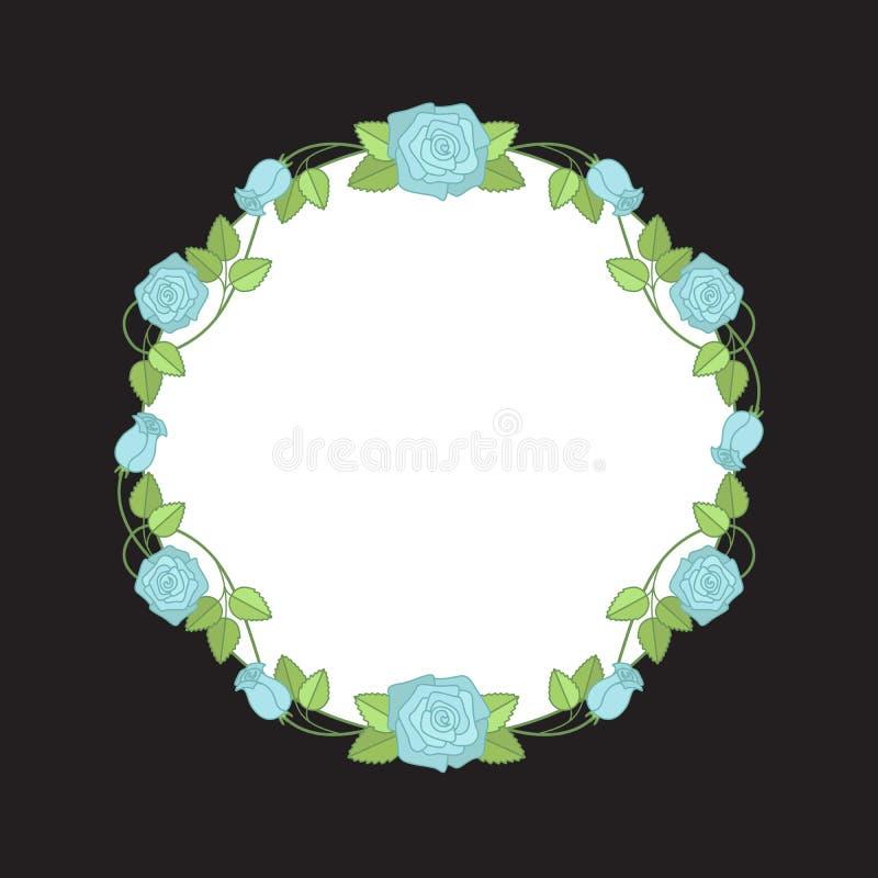 Vector bloemenkroon van blauwe rozen voor huwelijksuitnodigingen colo stock illustratie