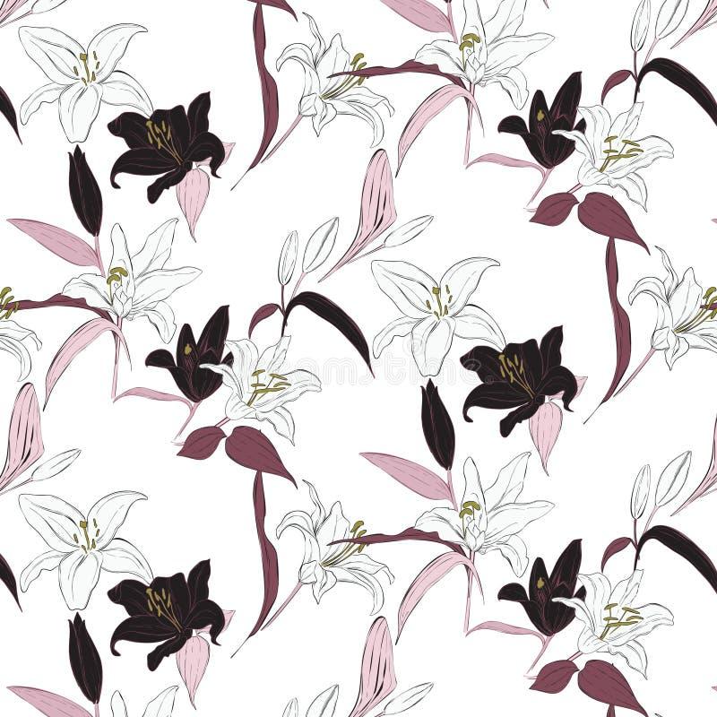 Vector bloemenleliepatroon De lentehand getrokken botanische exotische achtergrond De flora doorbladert textuur Roze blauwe viole royalty-vrije illustratie