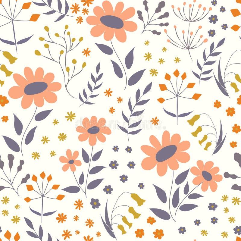 Vector bloemenpatroon in krabbelstijl met bloemen en bladeren G royalty-vrije illustratie