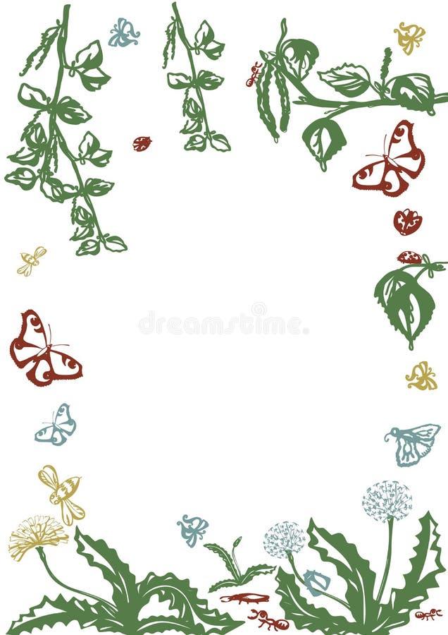 Vector bloemenreeks Grafische inzameling met bladeren en bloemen, die elementen trekken E stock illustratie