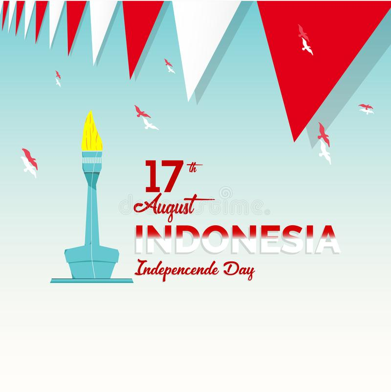 Vector blue background color design, Illustration of Indonesia Icons and landmarks. royalty free illustration