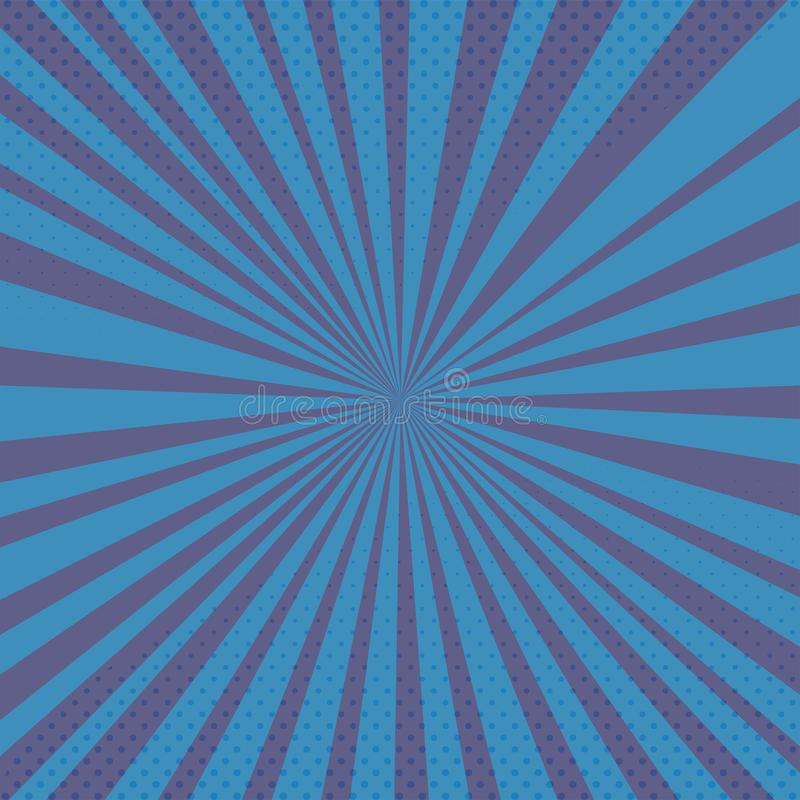 Vector blue background with comics rays and halftones stock photo