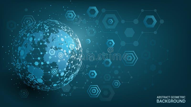 Vector. Blue background. Geometric sphere. Planet Earth. Global social network. Future. Hexagon. Global social network. Future. Abstract sphere. Hexagon royalty free illustration