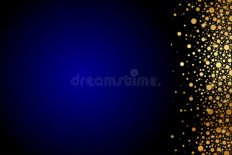 Blue background with gold confetti vector illustration