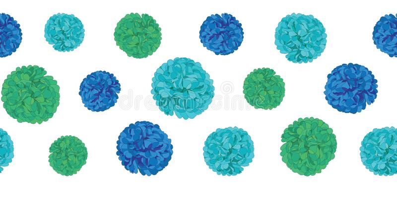 Vector Blue Birthday Party Paper Pom Poms Set Horizontal Seamless Repeat Border Pattern. Great for handmade cards royalty free illustration