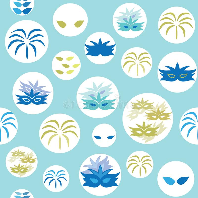 Vector blue carnival elements circles seamless pattern background vector illustration