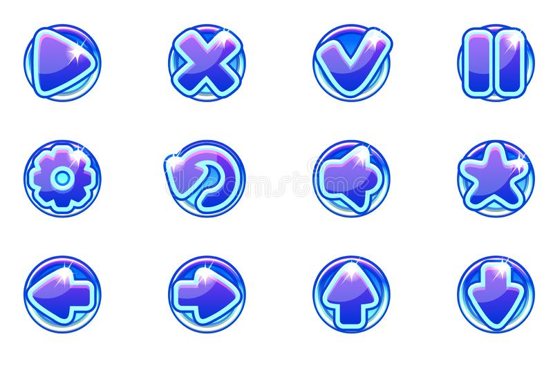 Vector blue circles collection set glass buttons for Ui stock illustration