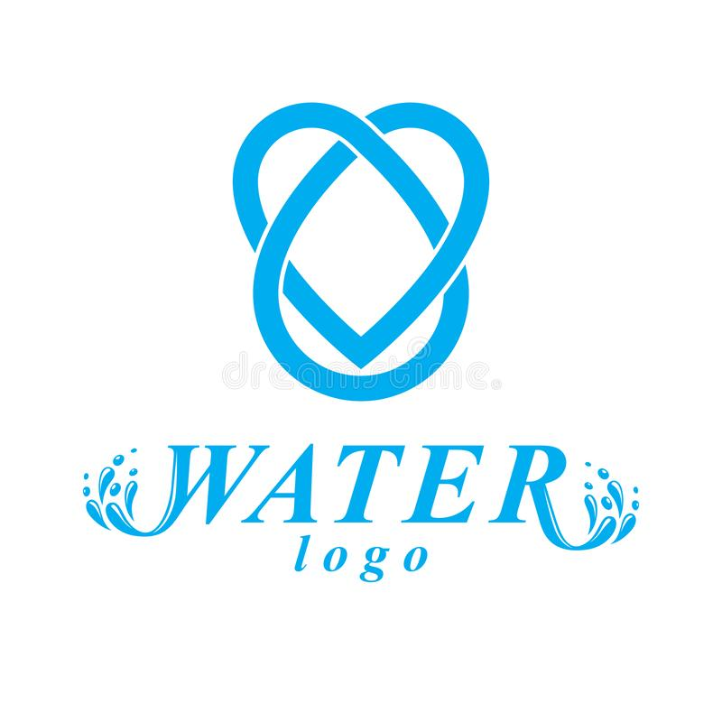 Vector blue clear water drop logotype for use as marketing design symbol. Human and nature harmony concept stock illustration