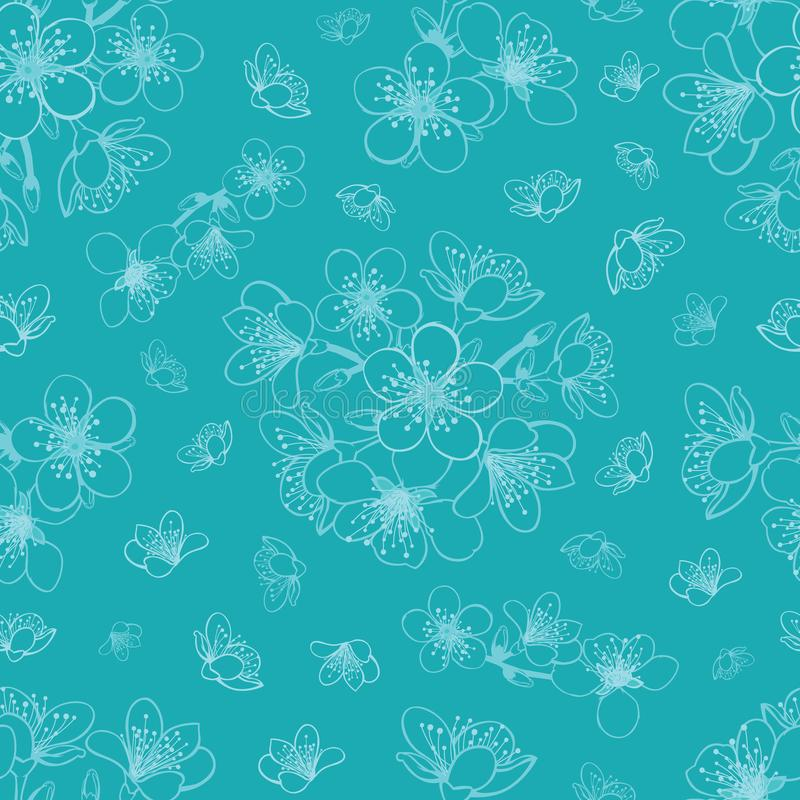 Vector blue cyan cherry blossom sakura flowers seamless pattern background royalty free illustration
