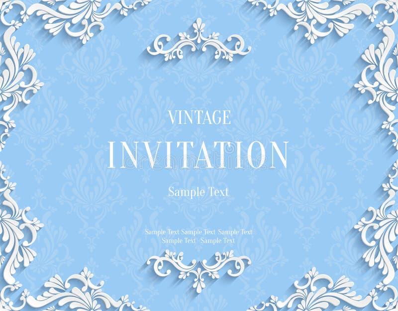 Vector Blue 3d Vintage Invitation Card with Floral Damask Pattern vector illustration