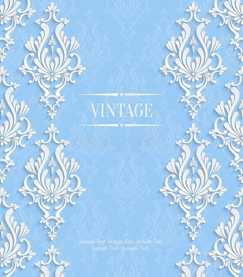 5 Blue Floral Wedding Invitation Card Vector Material: Vector Blue 3d Vintage Invitation Card With Floral Damask