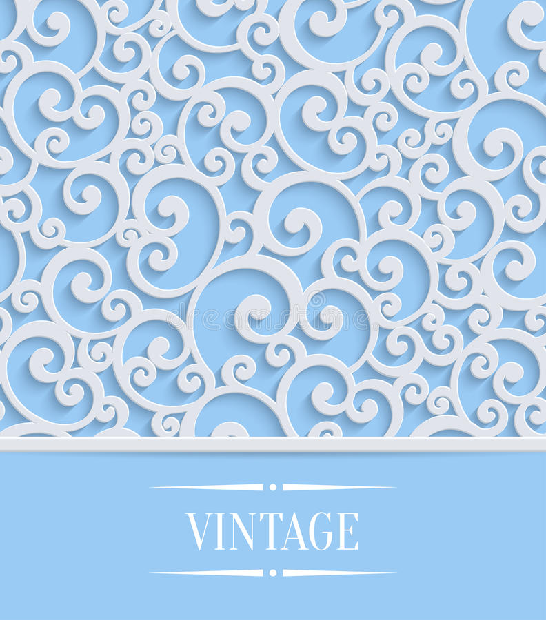 Vector blue 3d vintage invitation card with floral swirl pattern download vector blue 3d vintage invitation card with floral swirl pattern stock vector illustration of stopboris Image collections