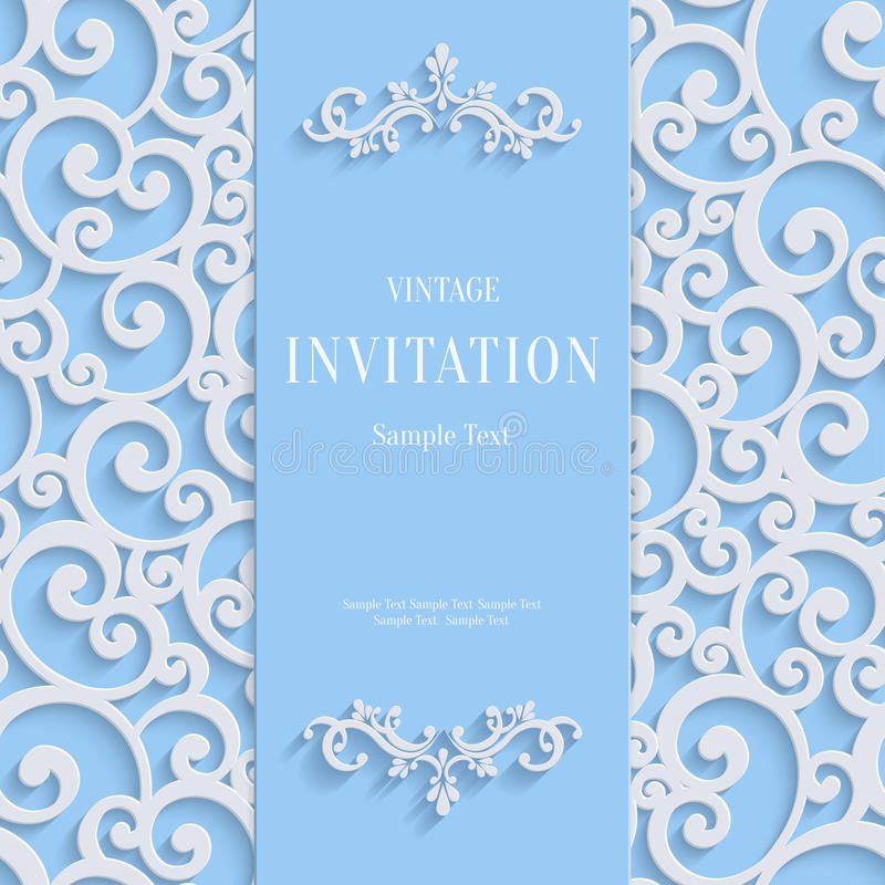 Vector Blue 3d Vintage Invitation Card with Swirl Damask Pattern royalty free illustration