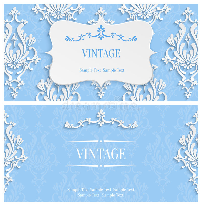 Vector Blue D Vintage Invitation Template With Floral Damask