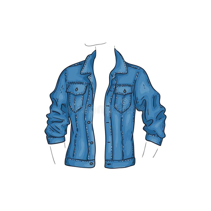 Vector blue denim jacket with pockets, jean shirt stock illustration