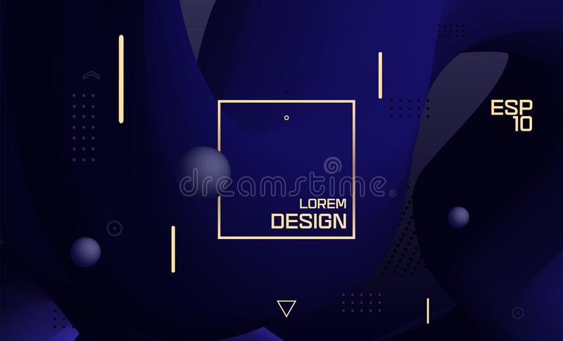 Vector blue design, abstract gradient geometric wavy minimal background. Colorful fluid forms. Trendy liquid 3d figure royalty free illustration