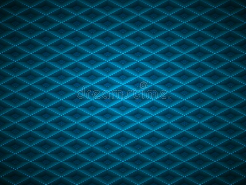 Vector blue embossed pattern plastic grid background. Technology diamond shape cell geometric pattern.  royalty free illustration