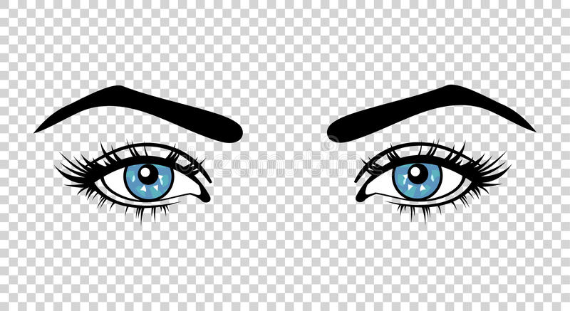 vector blue female eyes with long lashes and make up divider clip art math divider clip art math