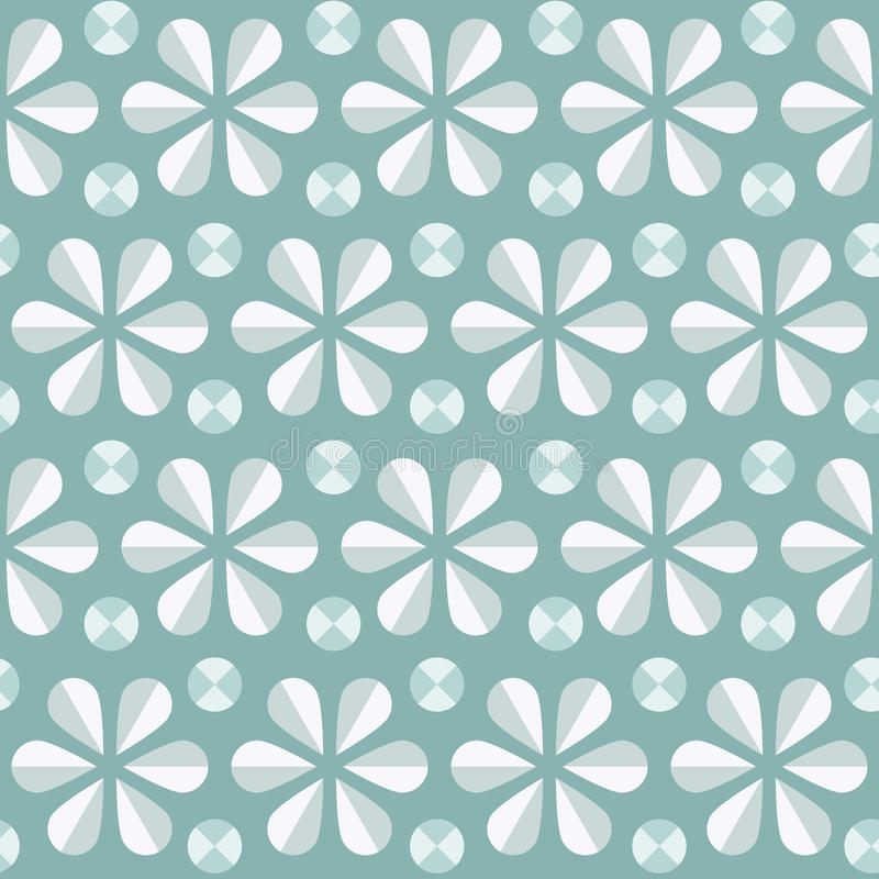 Vector blue floral seamless pattern, vintage background. Vector abstract seamless pattern with blue origami flowers and dots, 60s vintage retro style background vector illustration