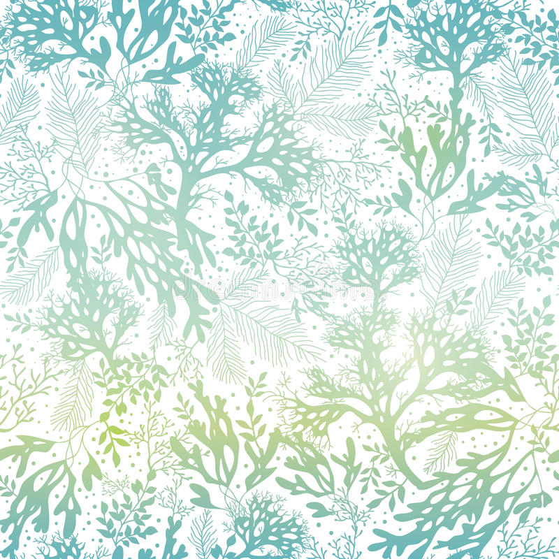 Vector Blue Freen Seaweed Texture Seamless Pattern Background. Great for elegant gray fabric, cards, wedding invitations. Wallpaper. Textile pattern design stock illustration