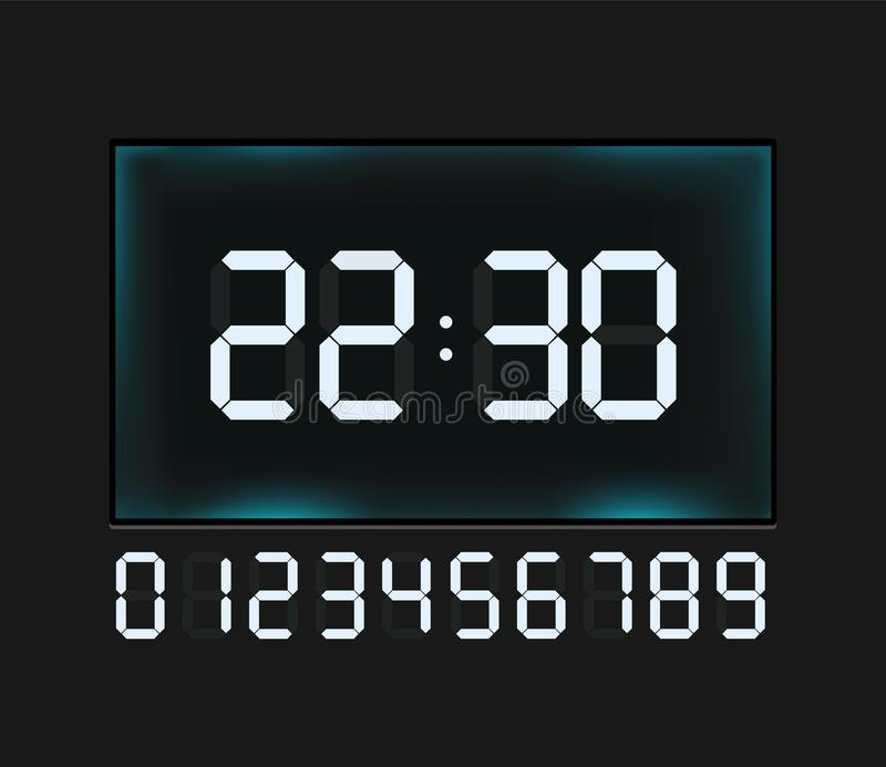 Vector blue glowing digital numbers - countdown timer royalty free illustration