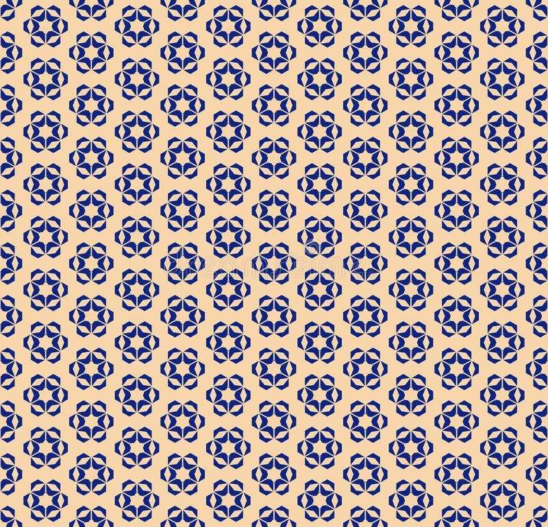Vector blue and gold geometric floral seamless pattern. Abstract background vector illustration