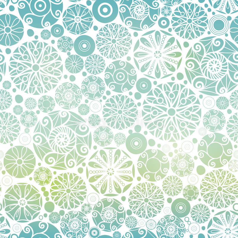 Vector Blue Green Gradient Abstract Doodle Circles Seamless Pattern Background. Great for elegant gold texture fabric, cards, wedding invitations, wallpaper royalty free illustration