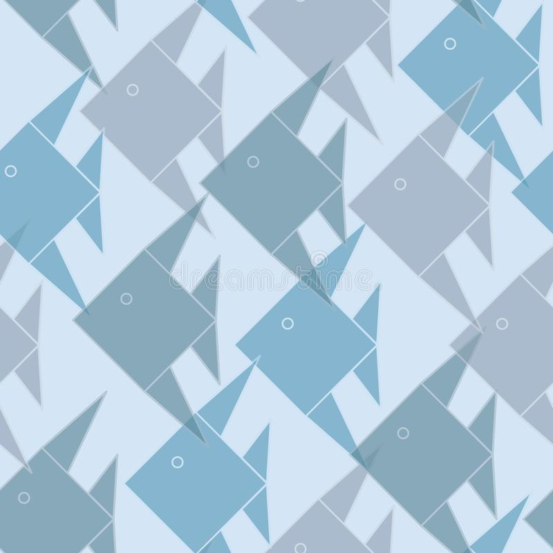 Vector Blue Green Gray Brown Origami Fish Seamless Repeat Background Pattern. For Surface Design stock illustration