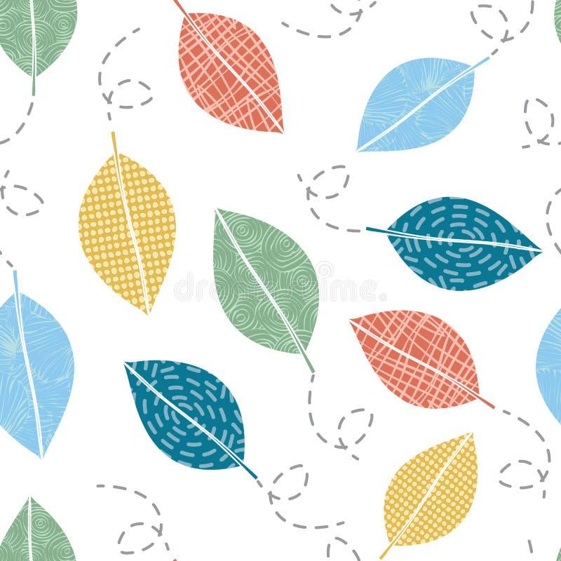 Vector Blue Green Orange Yellow Blowing Foglie di soffiatura in bianco Serie di ripetizione senza pari Contesto per i tessili royalty illustrazione gratis