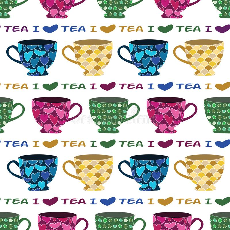Vector Blue Green Pink Yellow Tea Cups Mugs on White Seamless Repeat Pattern. For Surface Pattern Design stock illustration