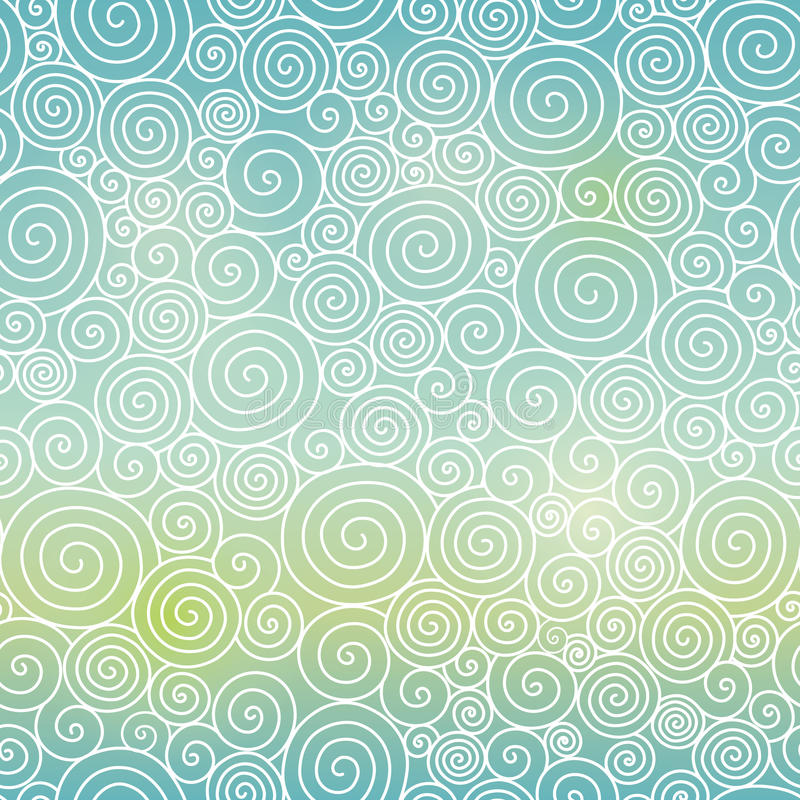 Vector Blue Green Sky Gradient Abstract Swirls Seamless Pattern Background. Great for elegant texture fabric, cards. Wedding invitations, wallpaper. Surface vector illustration