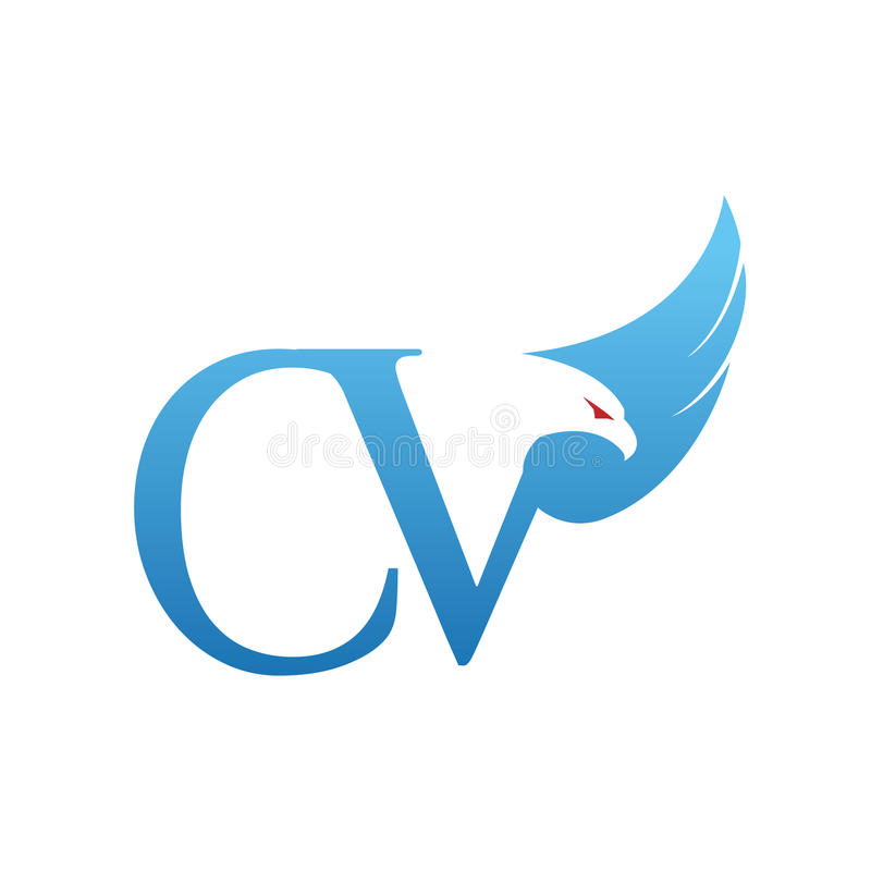 vector blue hawk initial cv logo stock vector