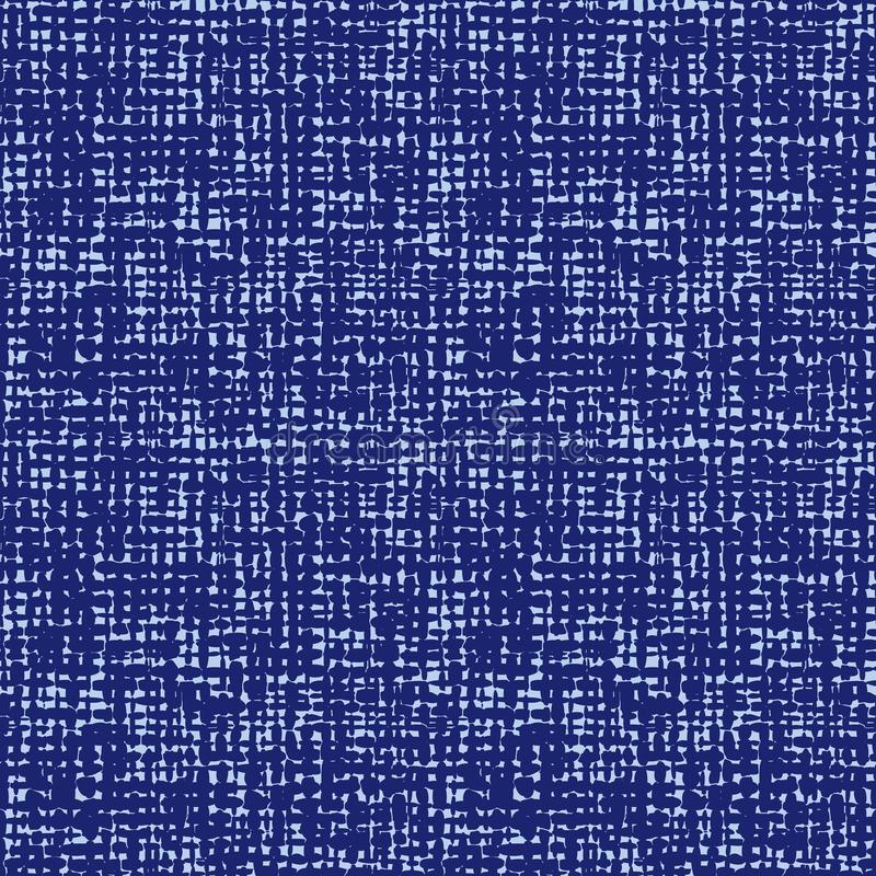 Vector blue indigo seamless fabric texture. Canvas for embroidery. Smaller file size. Suitable for textile, gift wrap vector illustration