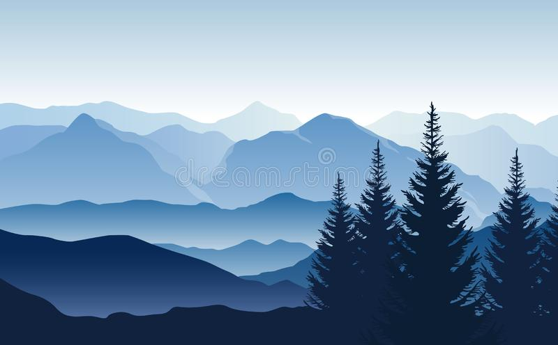 Vector blue landscape with silhouettes of misty mountains and hills and trees royalty free illustration