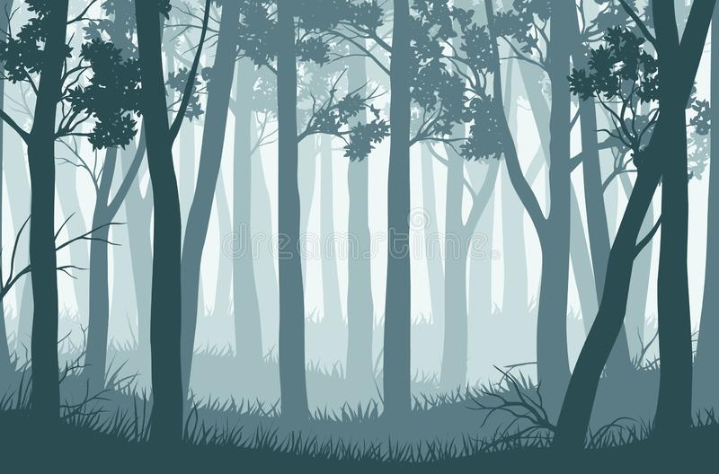 Vector blue landscape with silhouettes of trees in the misty forest stock illustration