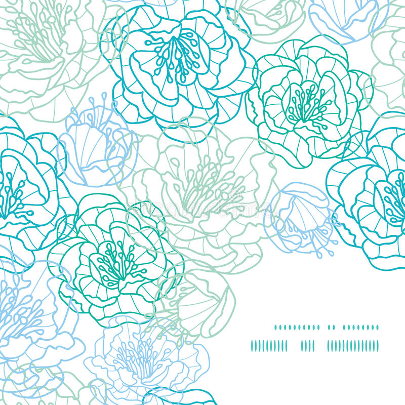 Line Art Flower Corner : Vector blue line art flowers frame corner pattern stock