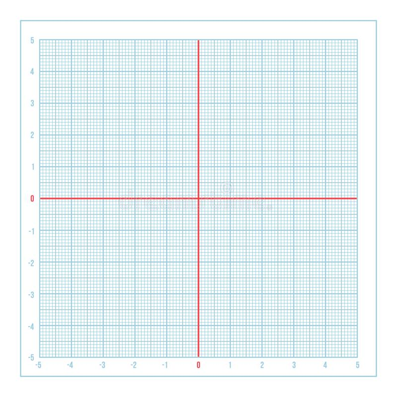 vector blue metric graph paper with coordinate axis stock vector