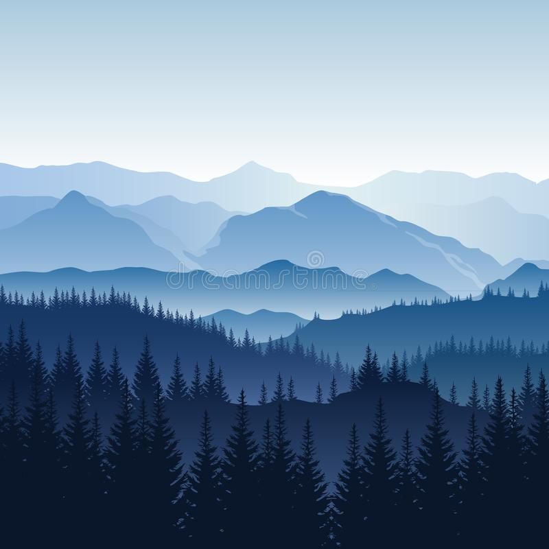 Vector blue misty landscape with silhouettes of mountains, hills royalty free illustration