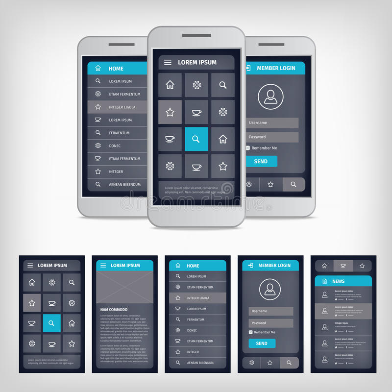 Vector blue mobile user interface. Vector set of modern flat design. Template mobile user interface. EPS10 illustration. Mobile app ui kit stock illustration